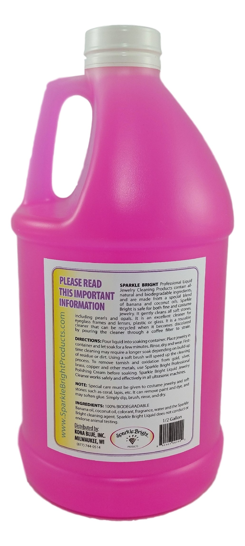 Sparkle Bright All-Natural Jewelry Cleaner Solution - Half Gallon (64oz.) | Jewelry Cleaning for Ultrasonic, Diamonds, Fine, Costume, Designer, Fashion Jewelry by Sparkle Bright Products (Image #2)