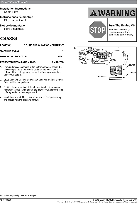 Purolator C45384-3PK PurolatorONE Cabin Air Filter 3 Pack