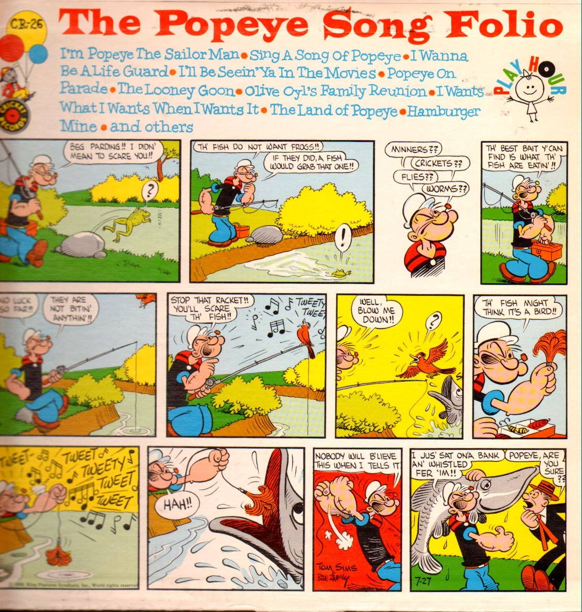 Captain Paul And The Seafaring Band Popeye Song Folio Vinyl Lp