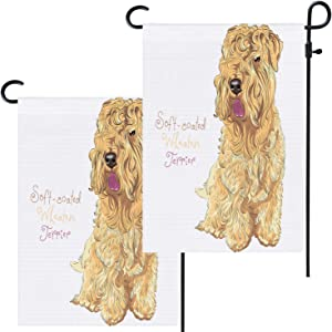 Shrahala Dog Irish Soft Coated Wheaten Terrier Garden Flag, Birthday Burlap Double Sized Garden Flags Large for Outside Decor All Weather Welcome Rustic 12x18 Inch for Wedding Camping