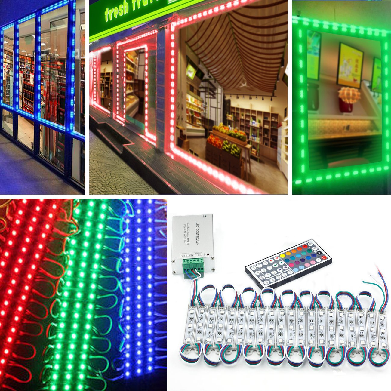 EAGWELL 20 Ft Storefront 40 Pieces RGB 5050 LED Light Module,2 Set 5050 SMD 120 LED Module Store Front Window Sign Strip Light by EAGWELL (Image #2)