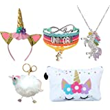 5 Piece Unicorn Gift Set - Unicorn Makeup Bag/Unicorn Bracelet/Unicorn Necklace/Unicorn Keychain/Unicorn Headband (White Star Unicorn)