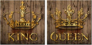 LevvArts Romantic Bedroom Canvas Wall Art Rustic Golden King and Queen Crown Painting Poster Prints on Canvas Vintage Wooden Background Canvas Artwork Framed Ready to Hang Each Panel 24x24inch