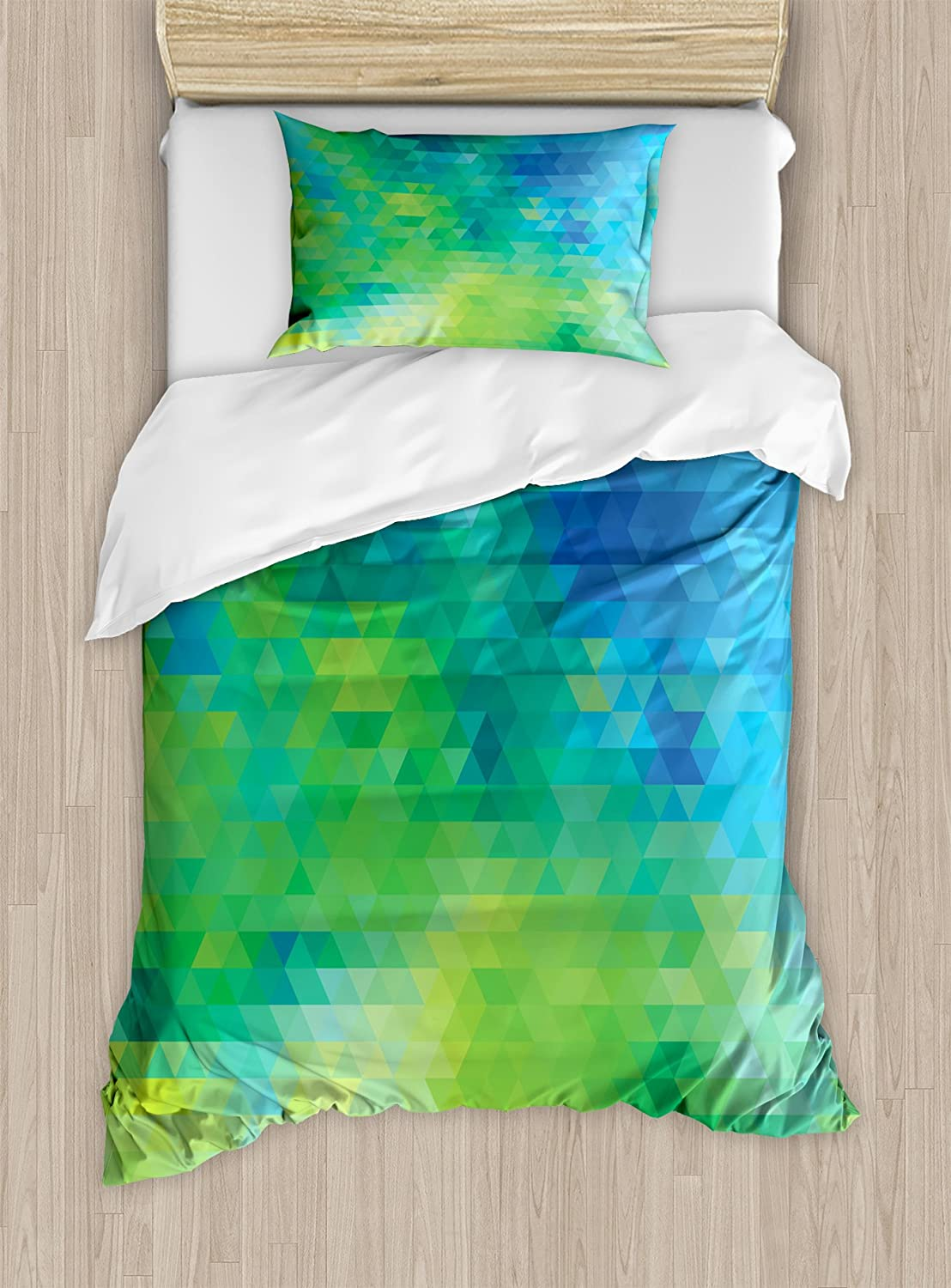 Ambesonne Green and Blue Duvet Cover Set Twin Size, Geometric Abstract Pattern with Triangles Ombre Inspired, Decorative 2 Piece Bedding Set with 1 Pillow Sham, Turquoise Lime Green Yellow