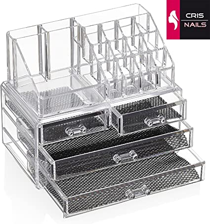 Crisnails® Organizador Maquillaje Caja Cosméticos Transparente ...