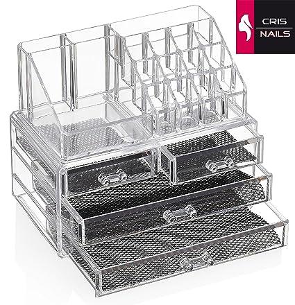 Crisnails® Organizador Maquillaje Caja Cosméticos Transparente Acrílico 20 Compartimentos