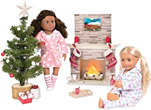 Our Generation Holiday Accessory Set for 18 Dolls - Includes Lighted Tree & Fireplace