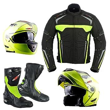 Chaqueta de motocicleta con casco de moto, botas de motocicleta, impermeable, de alta