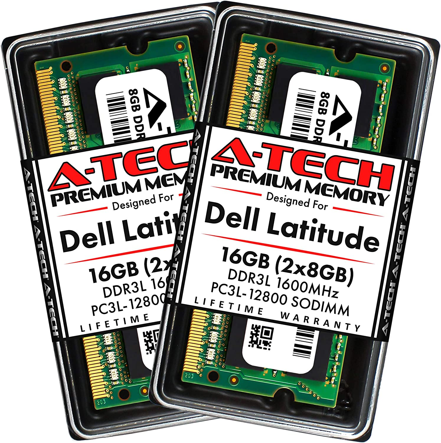 A-Tech 16GB (2x8GB) RAM for Dell Latitude E6530, E6430, E6430s, 6430u, E6330, E6230, E5530, E5430, 3330 | DDR3/DDR3L 1600MHz SODIMM PC3L-12800 Laptop Memory Max Upgrade Kit