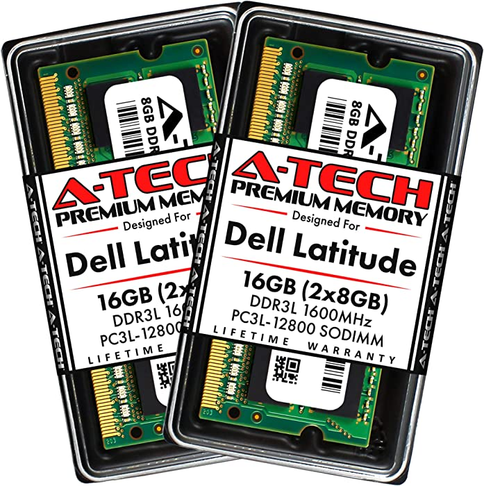 A-Tech 16GB (2x8GB) RAM for Dell Latitude E7450, E7250, 7250, E5550, 5550, E5450, 5450, E5250, 5250 | DDR3/DDR3L 1600MHz SODIMM PC3L-12800 Laptop Memory Upgrade Kit