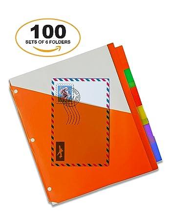 amazon com 6 pack 3 ring binder insert folders 100 sets of 6