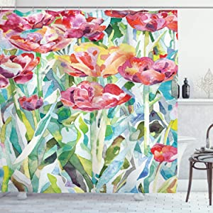 Ambesonne Watercolor Flower Shower Curtain, Painting of Summer Spring Flowers in Faded Colors Floral Seasonal Print, Cloth Fabric Bathroom Decor Set with Hooks, 84