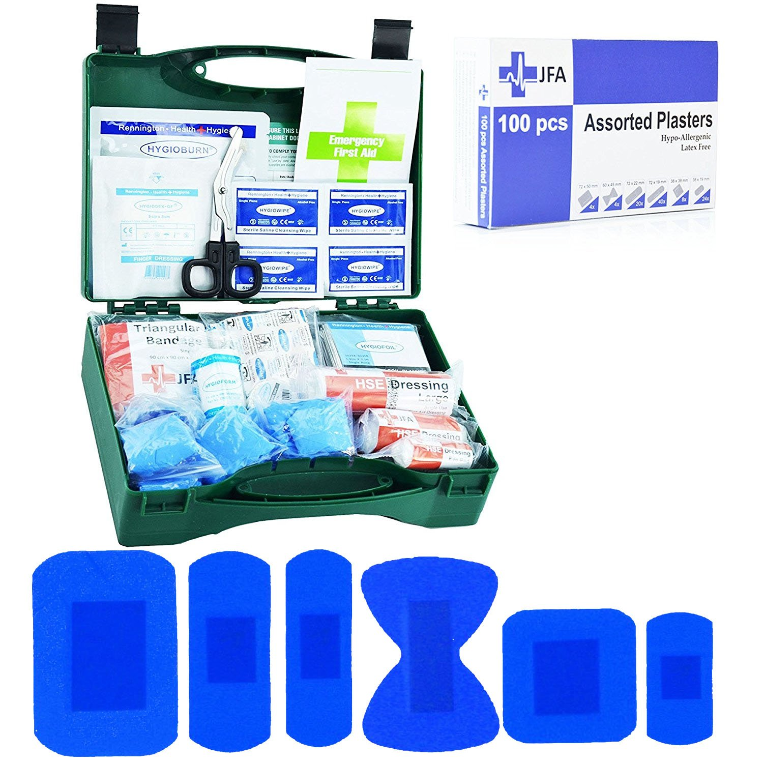 JFA Small Catering BSI First Aid Kit including box of 100 blue plasters   Amazon.co.uk  DIY   Tools 3e4f4360f94cd