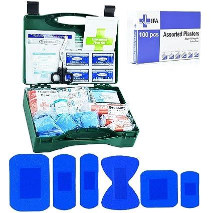 JFA Petit Traiteur BSI - Kit de primeros auxilios, con 100 tiritas azules