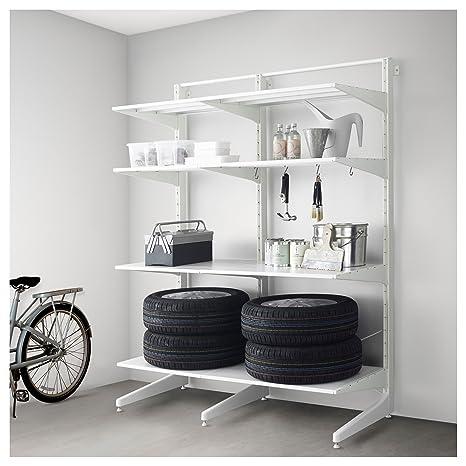 IKEA Algot - Post/pie/estantes de metal blanco: Amazon.es: Hogar