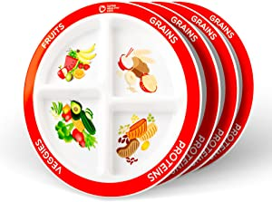 Health Beet Portion Plate Choose MyPlate for Kids, Toddlers - Kids Plates with Dividers and Nutrition Portions - English Language (Set of 4)