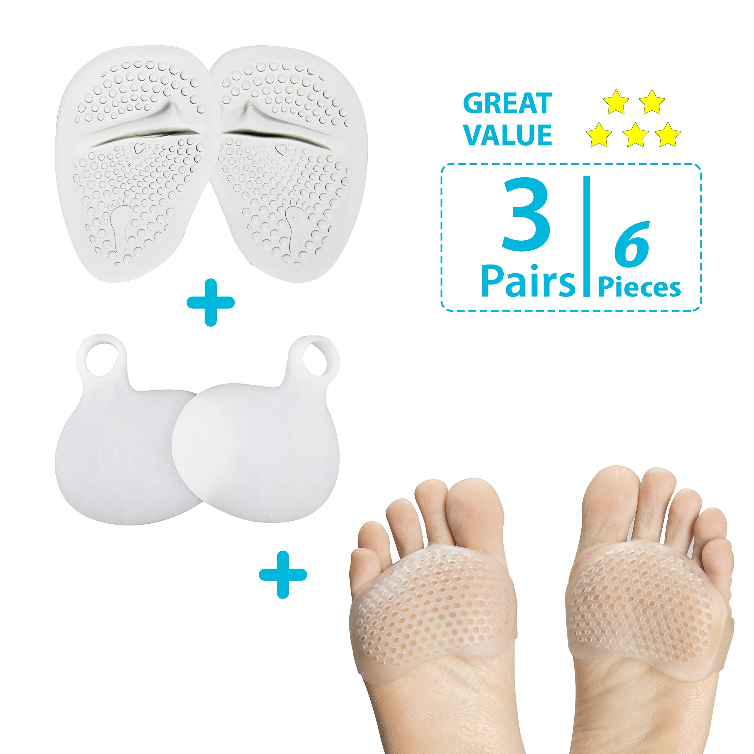 Foot Pads | 2 Pairs | Ultra Soft, Smooth, Incredibly Comfy Gel Foot Pads | Metatarsal & Morton's Neuroma | Small Food Pads For Athletes & The Everyday Working Person | Customer Care Promise Guarantee