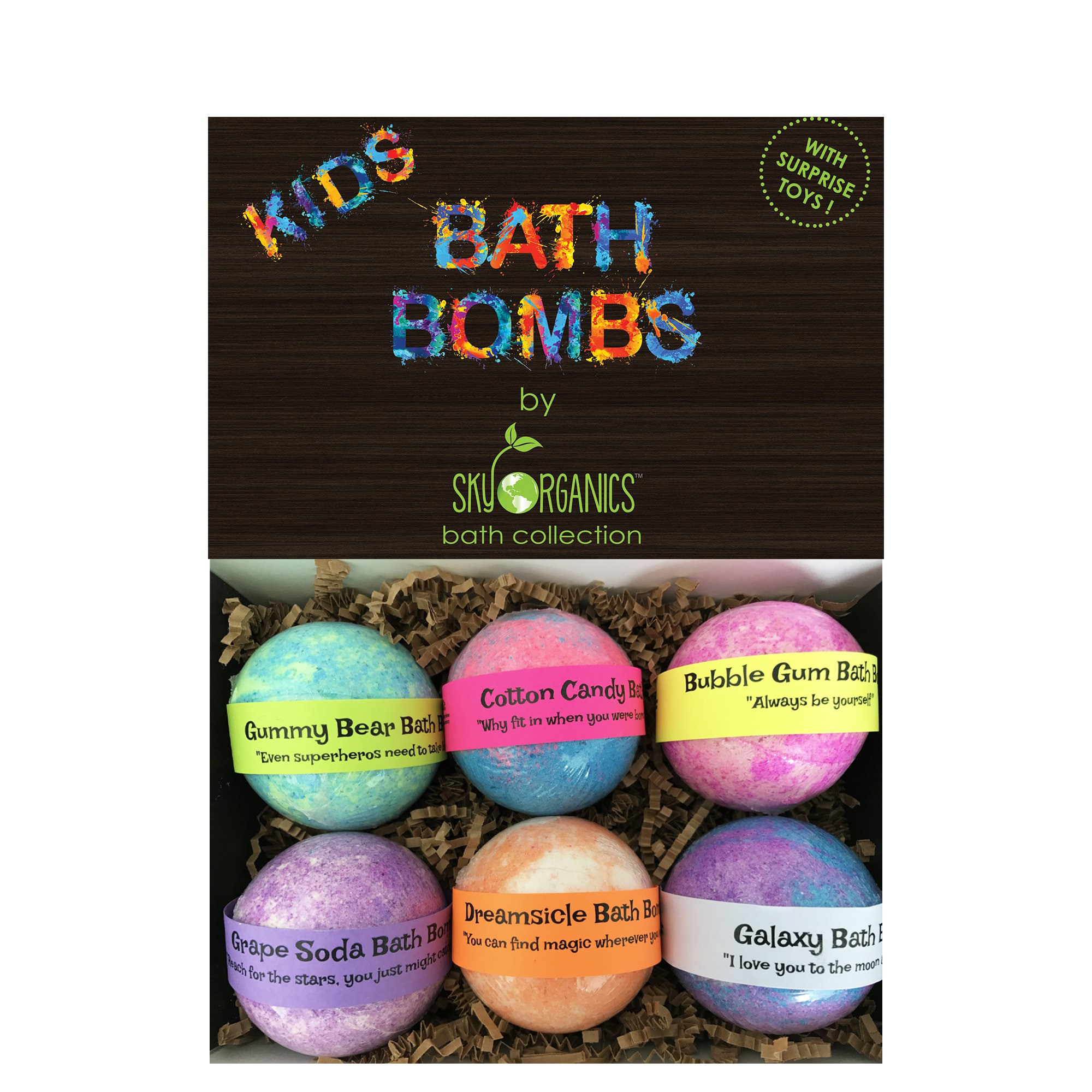 Kids Bath Bombs Gift Set with Surprise Toys, 6x5oz Fun Assorted Colored XL Bath Fizzies, Kid Safe, Gender Neutral with Organic Essential Oils -Handmade in the USA Organic Bubble Bath Fizzy by Sky Organics (Image #2)