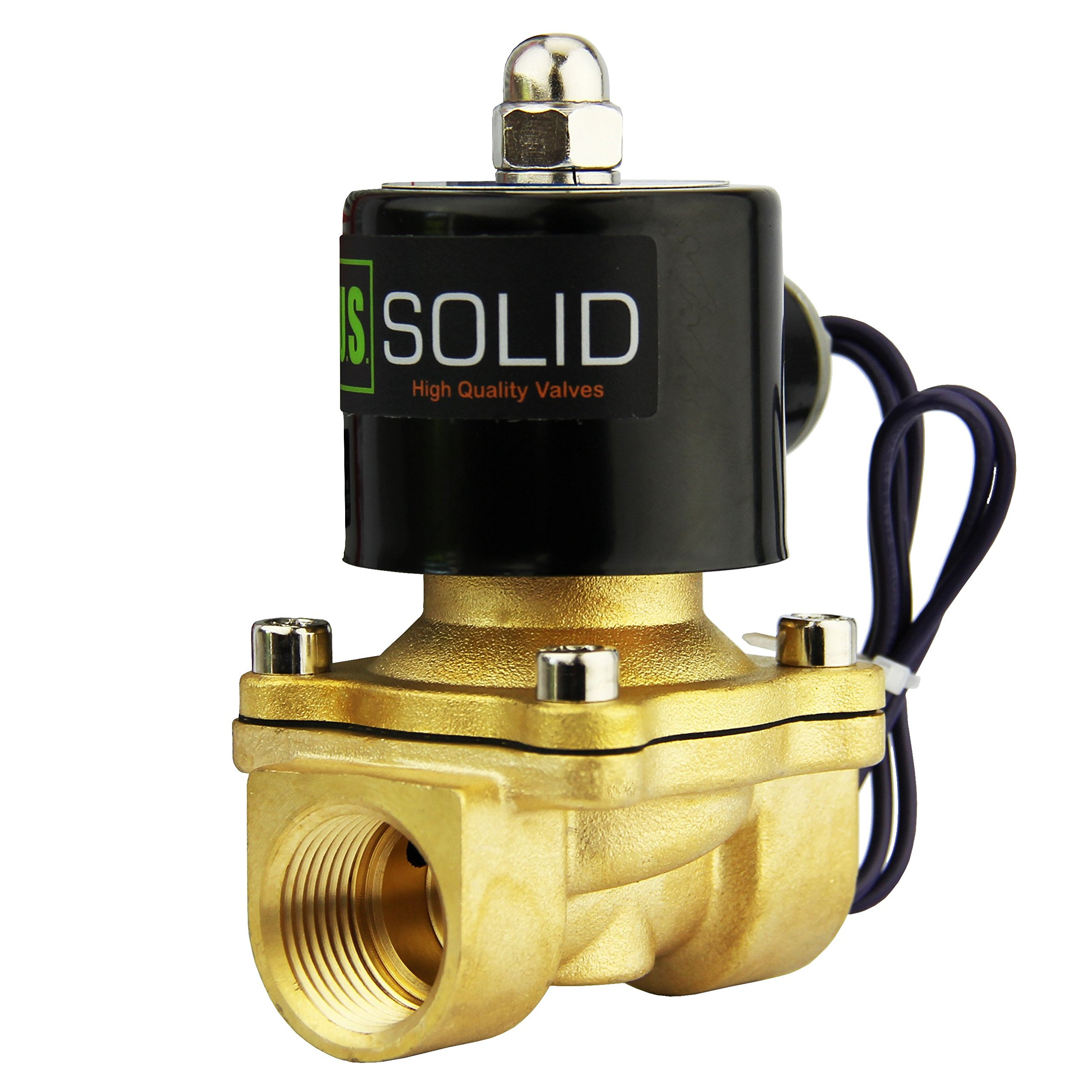 3/4'' Brass Electric Solenoid Valve 24VDC N.C. Air Water Fuel VITON by U.S. Solid