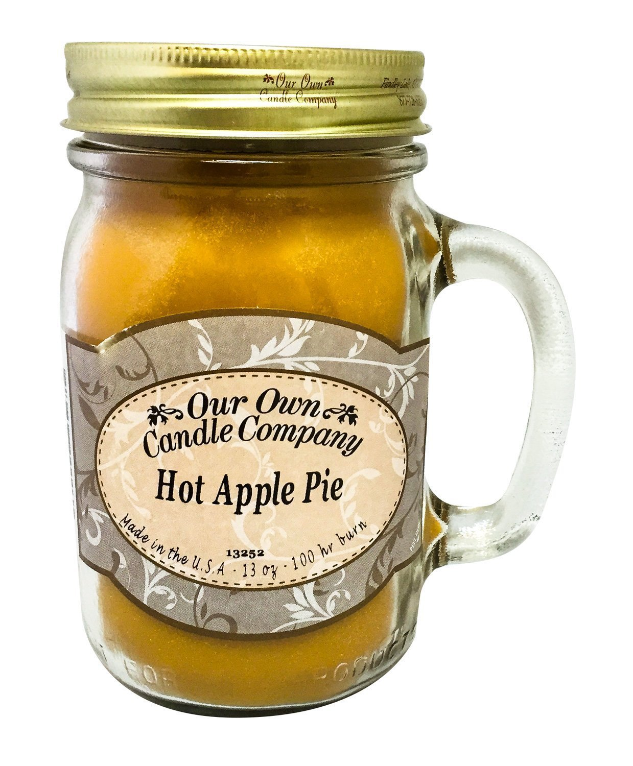 13 oz HOT APPLE PIE Scented Jar Candle (Our Own Candle Company Brand) Made in USA - 100 hr burn time LM-HPP