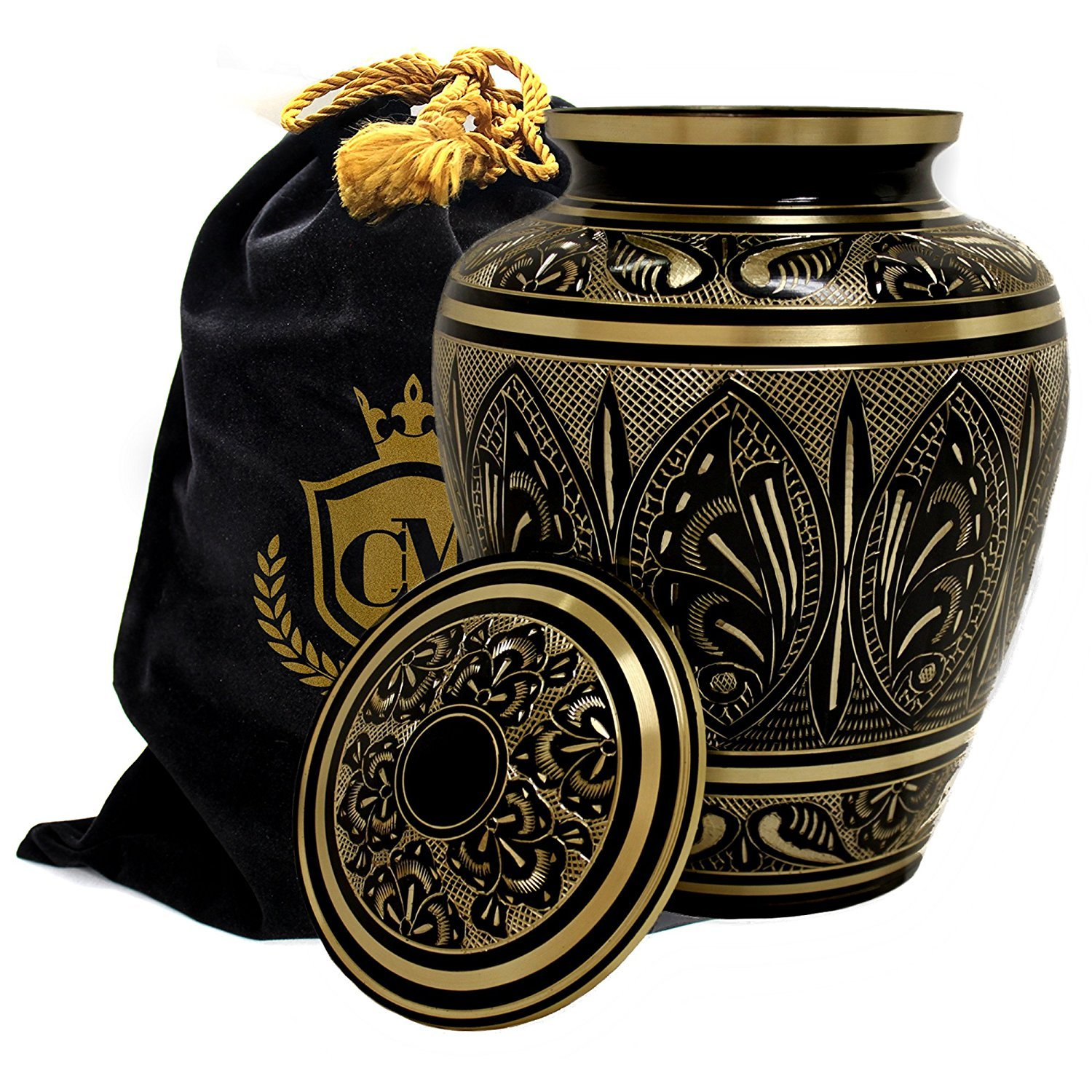 Majestic Radiance 100% Brass Cremation Urn for Human Ashes Large and Small (Purple, Large/Adult) Esca di Luce Imports