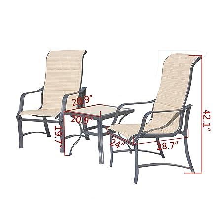Top Space Wicker Patio Rattan Chair Set 3 Piece Patio Set Chairs Bistro Set Outdoor Furniture Cushion Conversation Set Garden Courtyard 3 PCS, Beige