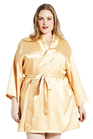 b525345ee9 Jovannie Satin Robe Plus Size 3 4 Sleeve with Matching Sash Short Length  (Gold
