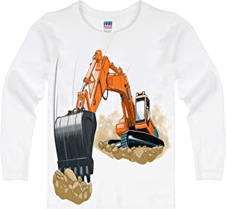product image for Shirts That Go Little Boys' Long Sleeve Orange Excavator T-Shirt