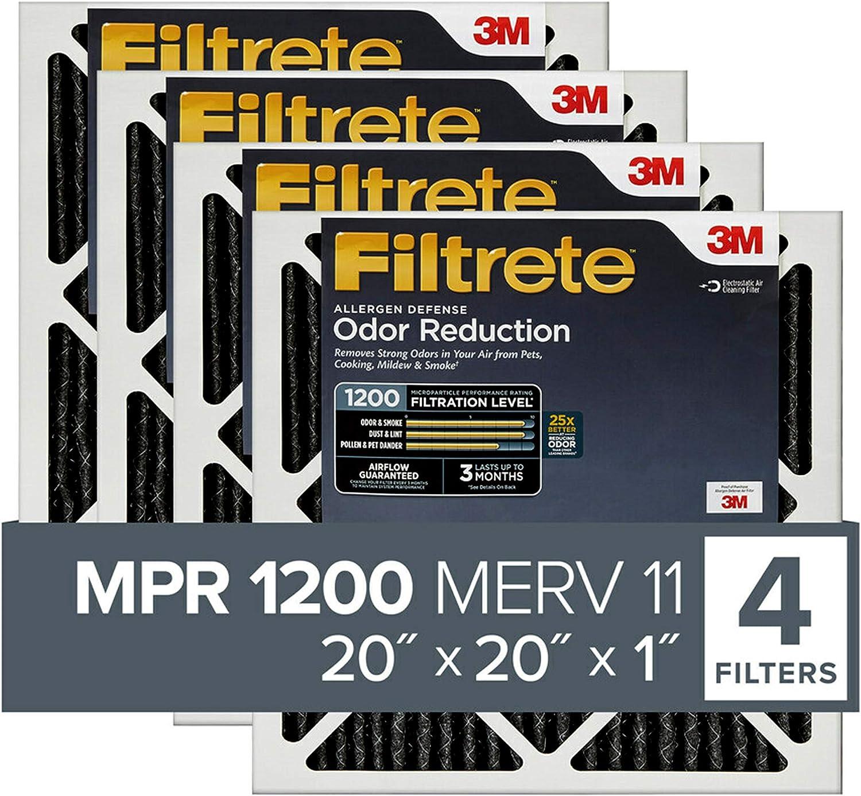 Filtrete MPR 1200 20x20x1 AC Furnace Air Filter, Allergen Defense Odor Reduction, 4-Pack