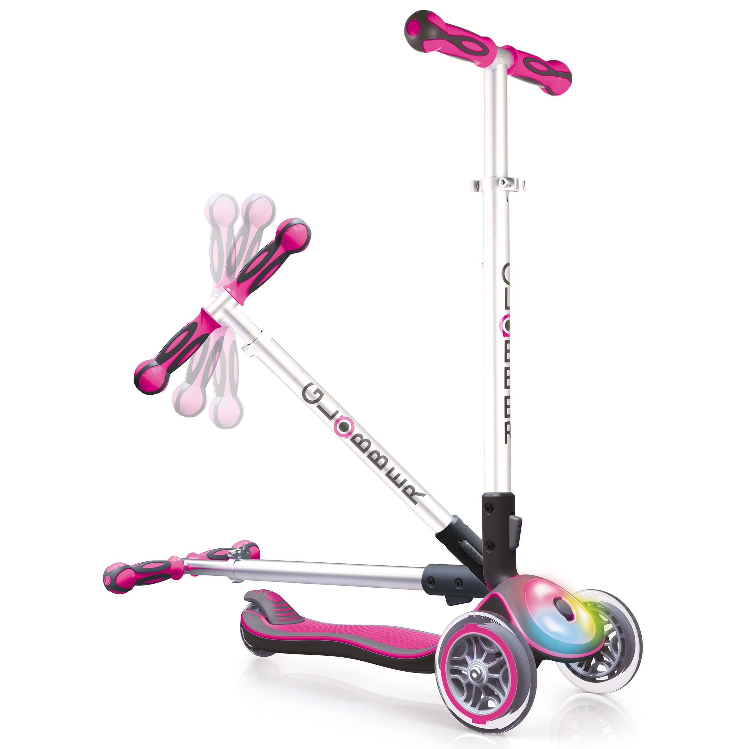 Globber 3 Wheel Folding Scooter with LED Lights (Pink)