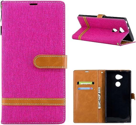 Funda para Sony Xperia XA2 Ultra,Grandcaser Double Layer Protectora Funda Suave Stitch Denim Leather Cuero Libro Flip Estuche de Silicona Bumper Flexible Cover Carcasa: Amazon.es: Electrónica