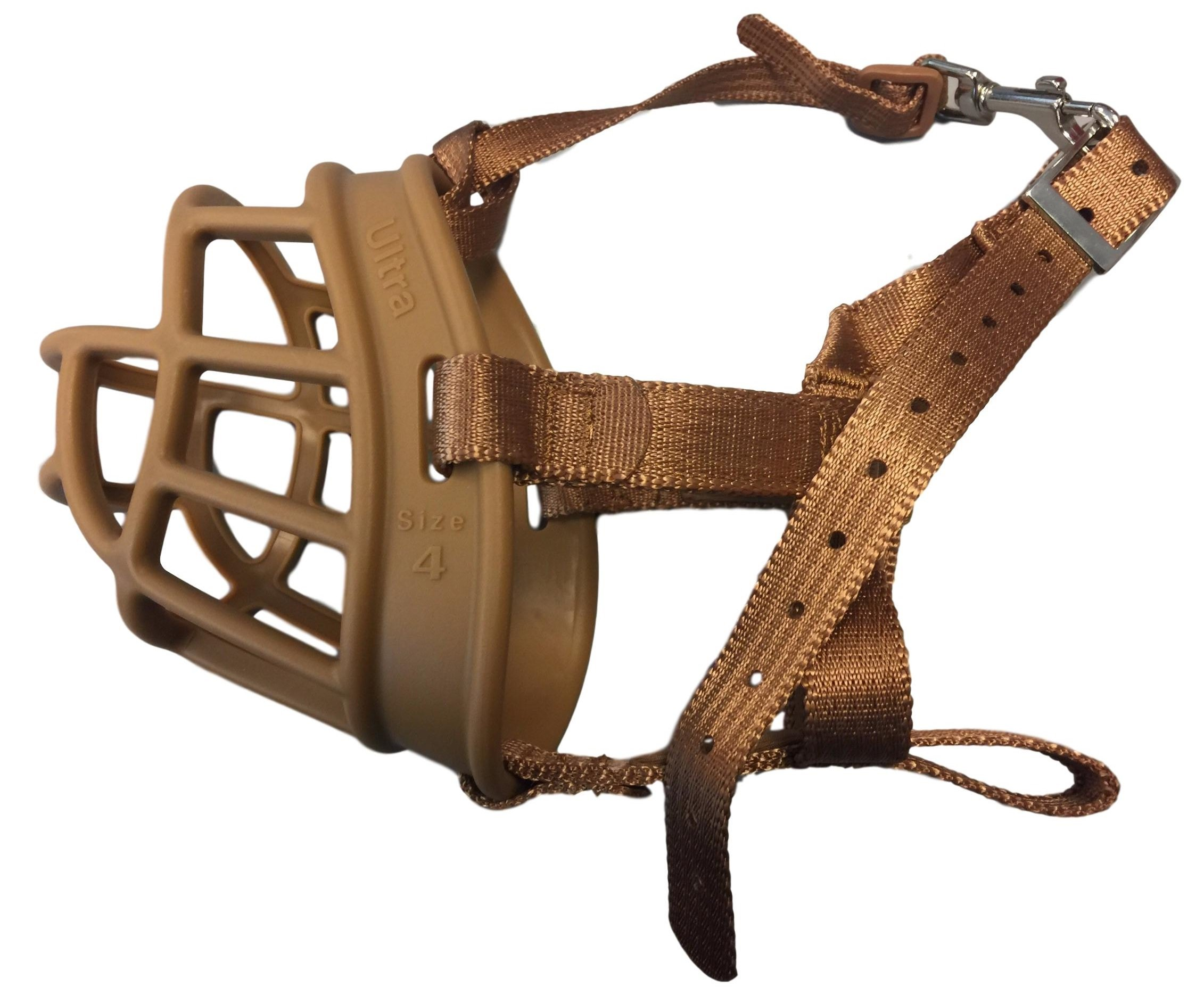 The Company of Animals Baskerville Ultra Basket Dog Muzzle Adjustable and Comfortable Secure Fit - Durable Lightweight Rubber - Stops Biting, safe retraining of aggressive dogs- Size-3 Tan