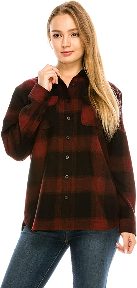 b9cd9220 YAGO Womens Classic Outdoor Button Up Long Sleeve Plaid Flannel Shirt