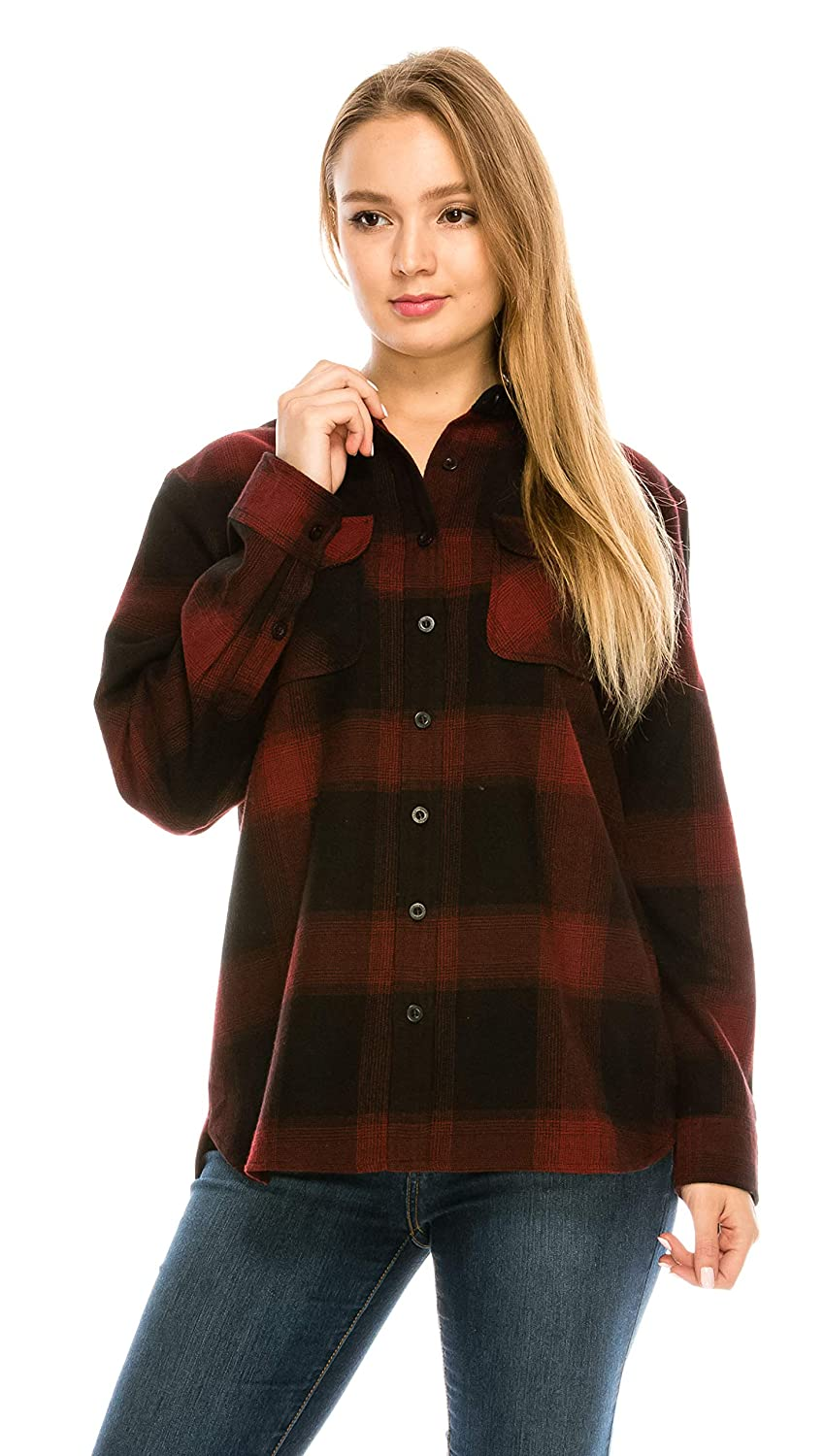 Black Red (5f) YAGO Womens Classic Outdoor Button Up Long Sleeve Plaid Flannel Shirt