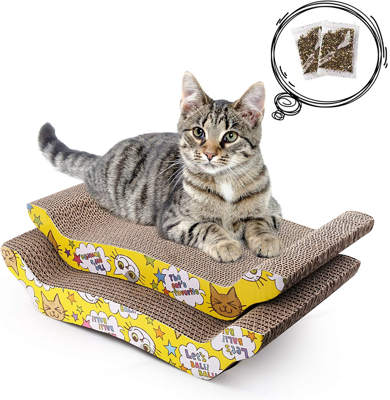 Rascadors para Gatos con Catnip para Cama y Sofá Almohadillas Rascadores para Gatos de Carton Reciclado Corrugado (20.5cm x 43cm)