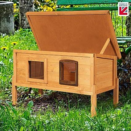 XL exterior Microchip casa de la perrera con una forma de gatos para exteriores privacidad ventana