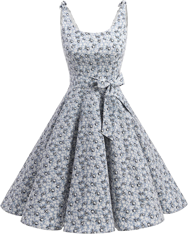TALLA S. Bbonlinedress Vestidos de 1950 Estampado Vintage Retro Cóctel Rockabilly con Lazo Little Flowers S