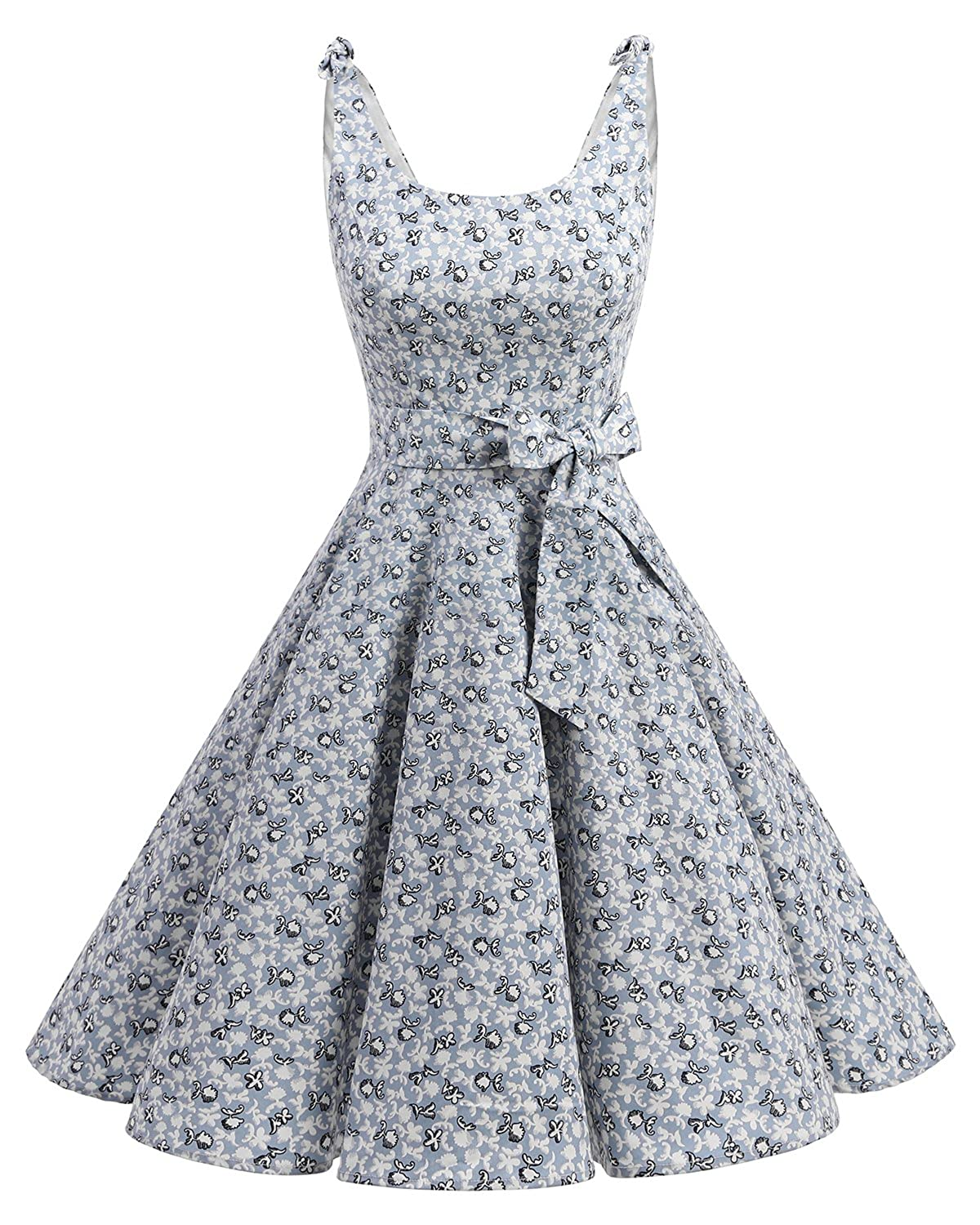 TALLA L. Bbonlinedress Vestidos de 1950 Estampado Vintage Retro Cóctel Rockabilly con Lazo Little Flowers