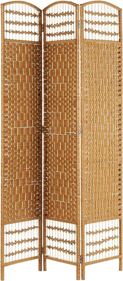 Hartleys Mampara de mimbre hecha a mano de 3 paneles - Beige ...