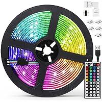 Tiras LED 5M, AGPTEK Luces LED 5050 RGB 150 Tira LED con Control Remoto de 44 Botones, 20 Colores 8 Modos de Brillo y 6…