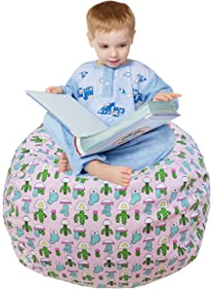 Stuffed Animal Storage Chair Cover, Soft Canvasu0026Handle, Kids Bean Bag Game  Chair Perfect Storage