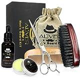Beard Brush Comb Set for Men, Beard Grooming & Trimming Kit Contains Beard Oil, Leave-in Conditioner, Mustache & Beard Balm Butter Wax, Beard Brush, Beard Comb, Sharp Scissors Gift Set