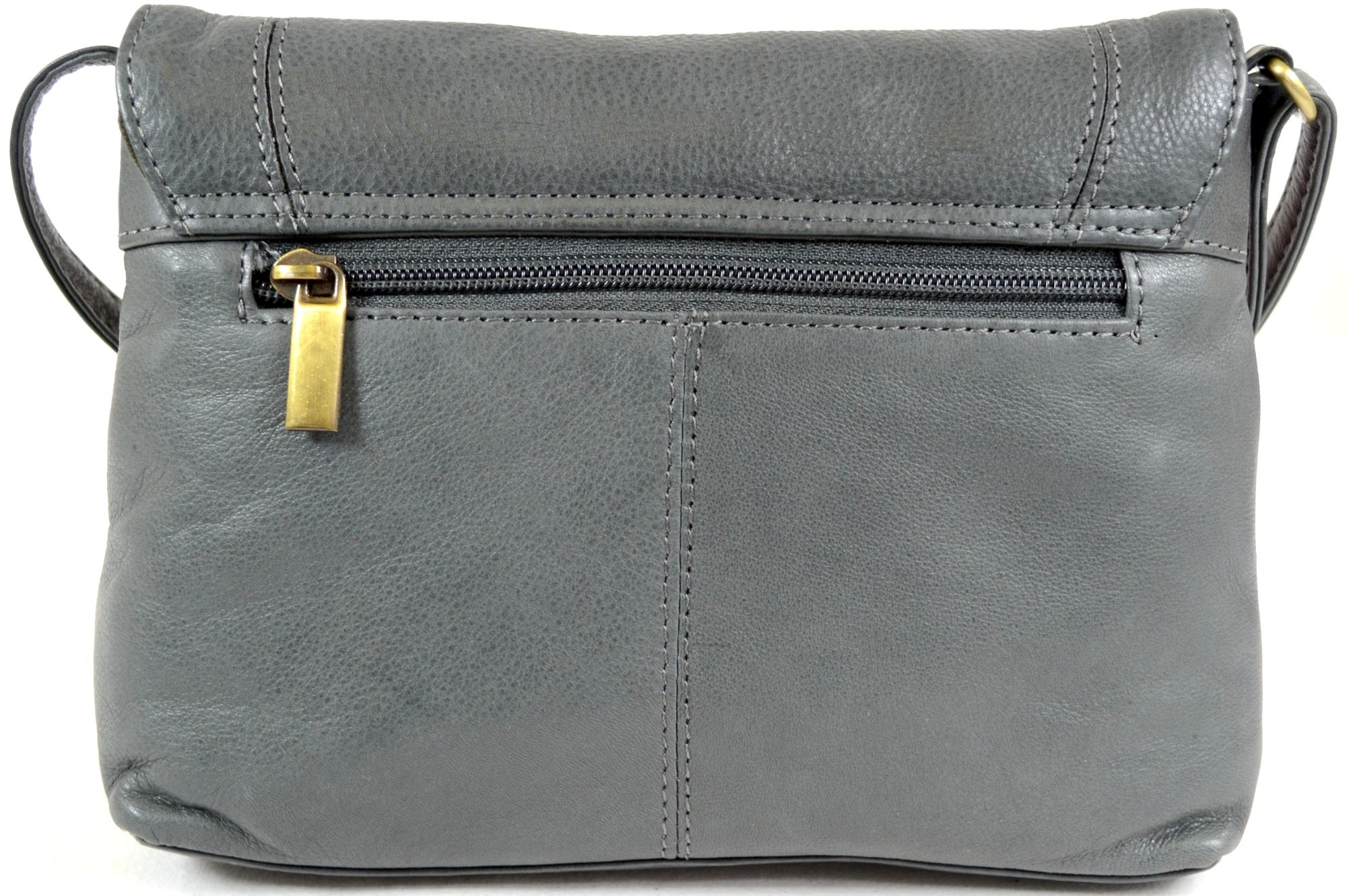 Ladies Soft Premium Leather Shoulder/Cross Body Bag (Charcoal) by SNUGRUGS (Image #2)