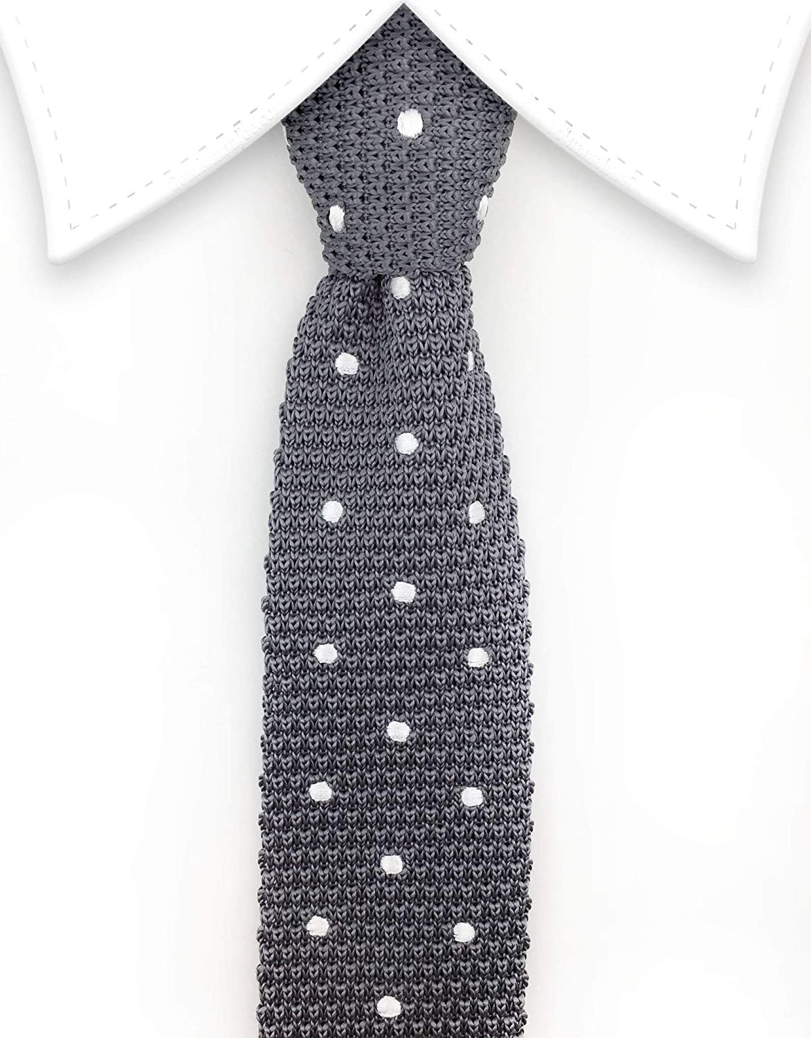 Gentleman Joe Gray Skinny Knit Tie With Silver Polka Dots Multicolored