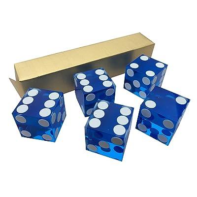 5X Bleu NEUF 19mm Précision pour Casino dés/Craps Superbe