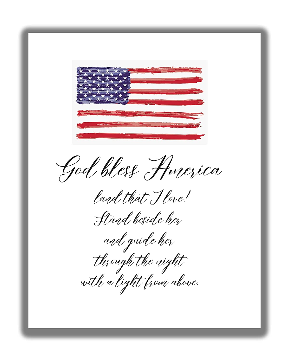 Amazon Com Patriotic Inspirational God Bless America Land That I Love Typography Word Wall Art 11x14 Unframed Print Makes A Great Decor Gift For Any Patriot Handmade