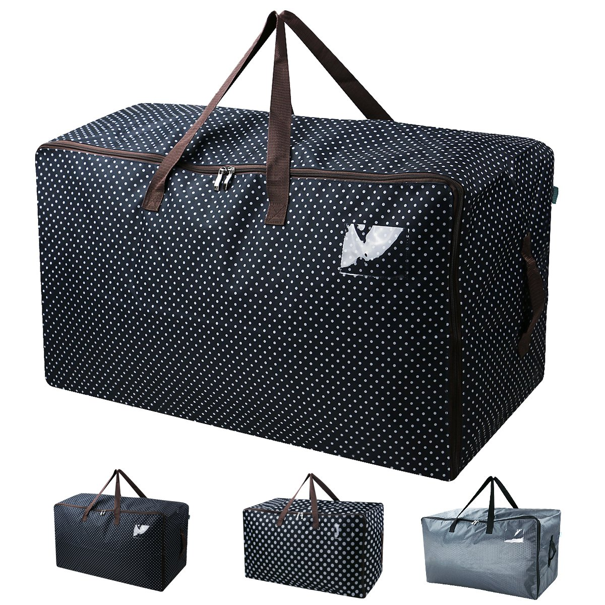 Waterproof Thick Over-sized Organizer Storage Bag with Strong Handles, Travelling Bag, College Carrying Bag, Camping Bag for Christmas, Festival Decorations, Washable (27.516.513.8'', Black Dot) by iwill CREATE PRO