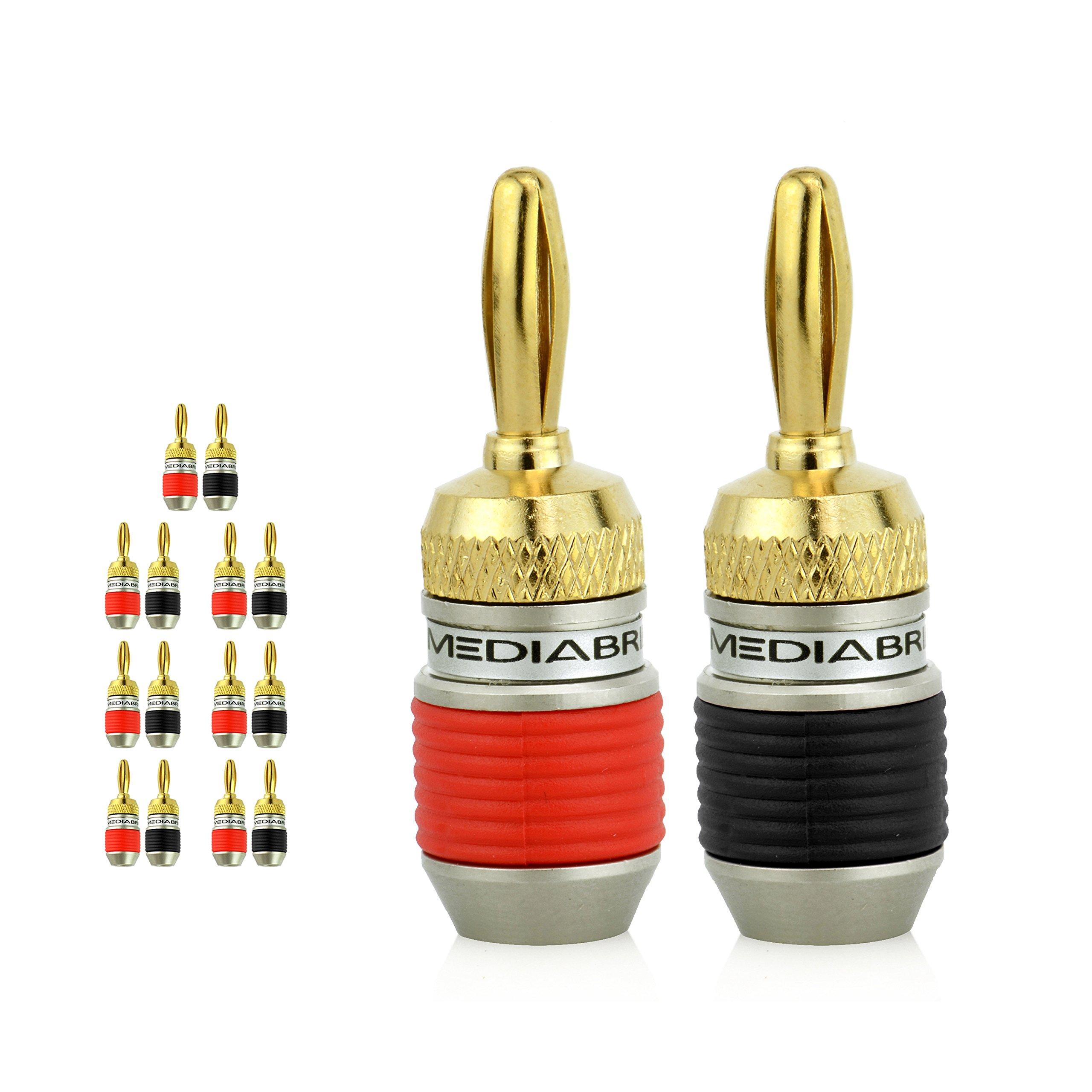 Mediabridge Banana Plugs - Corrosion-Resistant 24K Gold-Plated Connectors - 7 Pair/14 Banana Plugs (Part# SPC-BP2-7 )