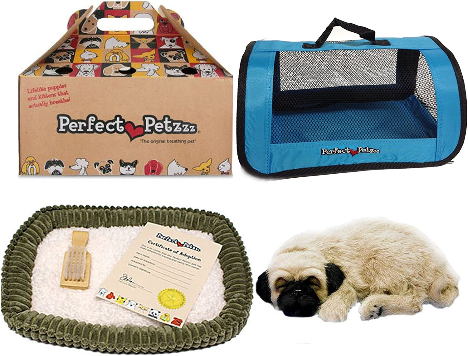 Perfect Petzzz Huggable Pug Puppy with BlueTote For Plush Breathing Pet