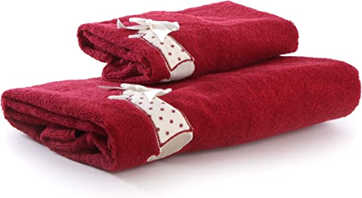 ANNA COLLEZIONI Coppia Set Asciugamani Viso e Ospite in Soffice Spugna di Puro Cotone gr 450 in Fantasia Invernale con Bambina Rosso